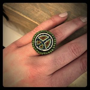 Jewelry - Unique wooden peace ☮️ sign ring approx size 7.5-8